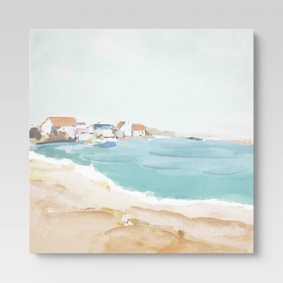 "24"" x 30"" Abstract Houses by the Beach Wall Canvas - Threshold™"