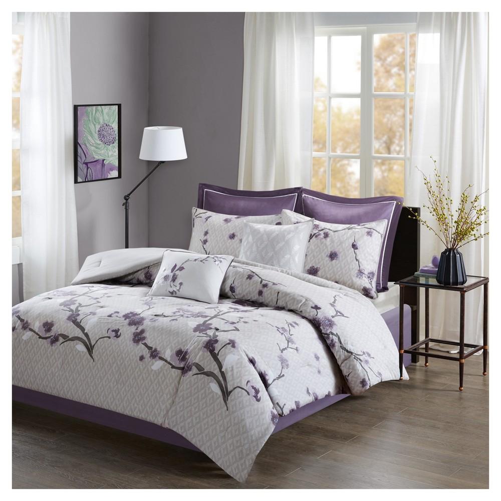 Purple Sakura Cotton Comforter Set (California King) 8pc