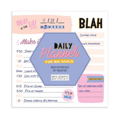 Undated Make it Happen Daily Desktop Note Block for Productivity and Lists - The Time Factory