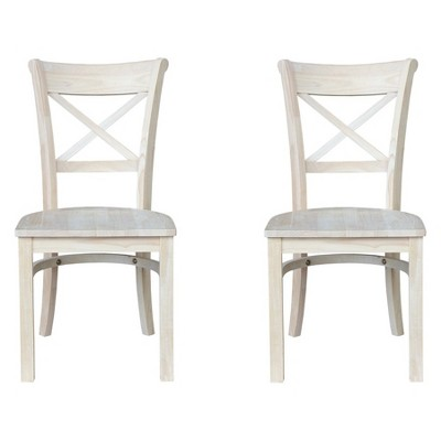 Set Of 2 Charlotte X Back Chair Unfinished - International Concepts