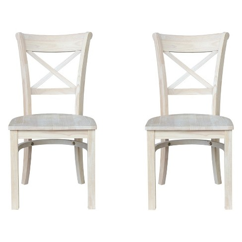 Set Of 2 Charlotte X Back Chair Unfinished - International Concepts - image 1 of 4