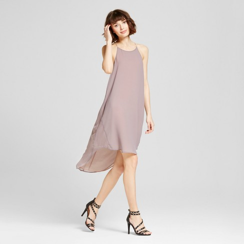 Women's Hi Low Halter Dress - S&P by Standards and Practices Gray - image 1 of 2