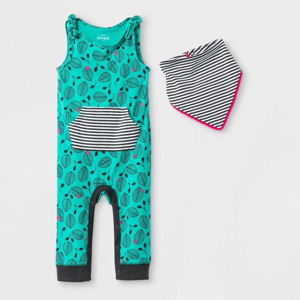 Baby Girls' 2pc Tie Shoulder Kanga Pocket Long Romper with Pom Bib - Cat & Jack Green 18M