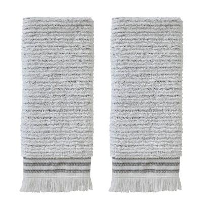 2pc Subtle Striped Hand Towel Set Gray - SKL Home
