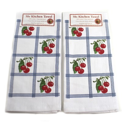 "Tabletop 24.0"" Country Cherries Blue Set/2 100 Cotton 50S Design Retro Red And White Kitchen Company  -  Kitchen Towel"