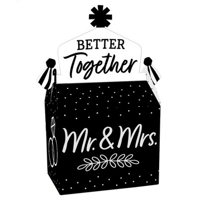Big Dot of Happiness Mr. and Mrs. - Treat Box Party Favors - Black and White Wedding or Bridal Shower Goodie Gable Boxes - Set of 12