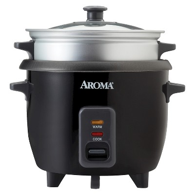 Aroma Rice Cooker & Steam Tray 6. Cup - Black