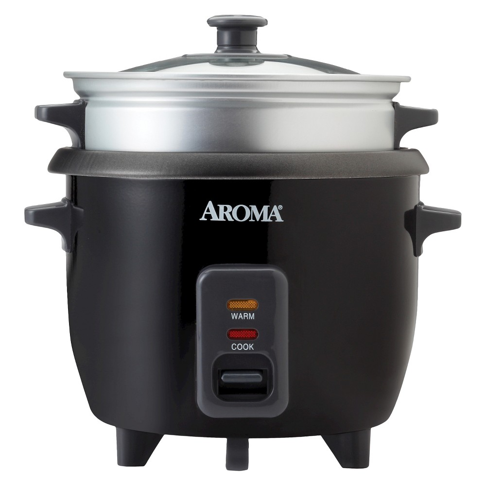 Aroma Rice Cooker & Steam Tray 6. Cup - Black Take the multi-tasking out of your meal with the 6-Cup Rice Cooker from Aroma. This practical little appliance beautifully prepares any type of rice and even steams meat and vegetables at the same time! All you have to do is turn it on; when cooking is finished it switches automatically to keep-warm mode. The tempered glass lid allows you to monitor your foods as they cook without releasing the steam. Includes measuring cup, rice spatula and steam tray. Color: Black.