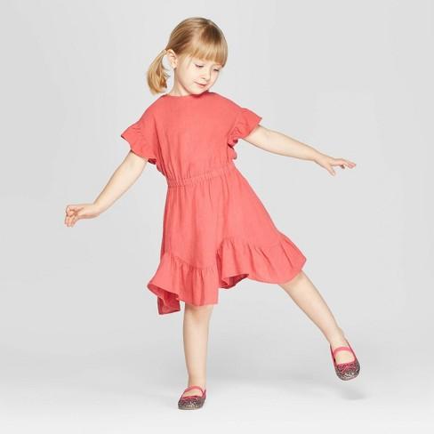 887bdb9f2d5 Toddler Girls  Ruffle Short Sleeve A-Line Dress - Art Class™ Red 3T ...