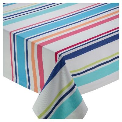 Blue Beachy Stripe Tablecloth (52 x52 )- Design Imports
