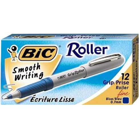 BIC Roller Glide Grip Ballpoint Pen with Metal Clip, 0.7 mm Fine Tip, Blue Ink, Gray Barrel, pk of 12 - image 1 of 1