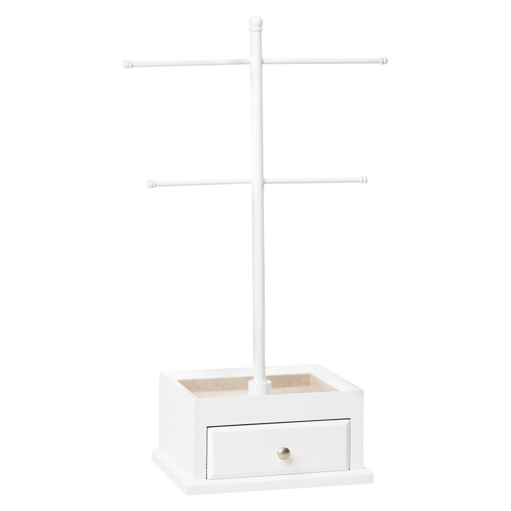 Hives & Honey T-bar Jewelry Stand, White Whether it's your prized pearl necklace or your favorite '80s inspired hoop earrings, this Hives and Honey T-Bar Jewelry Stand is just what you need to keep your jewelry out of knots or entanglements and perfectly organized. Featuring four bars and an ultra-chic design, this stand will surely set a fashionable tone in your bedroom. This worthy-of-display jewelry stand is elegant and boasts pretty color. This gorgeous and one-of-a-kind stand will help you hang all your jewelry in style! Color: White. Gender: Unisex. Age Group: Adult.