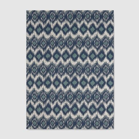 Ikat Outdoor Rug Blue - Threshold™ - image 1 of 4