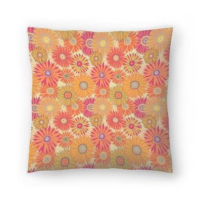 Americanflat Orange Flowers by Frankie Van Mourik Throw Pillow