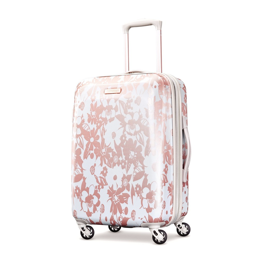 "Image of ""American Tourister 22"""" Arabella Hardside Carry On Spinner Suitcase - Floral Rose Gold, Pink"""