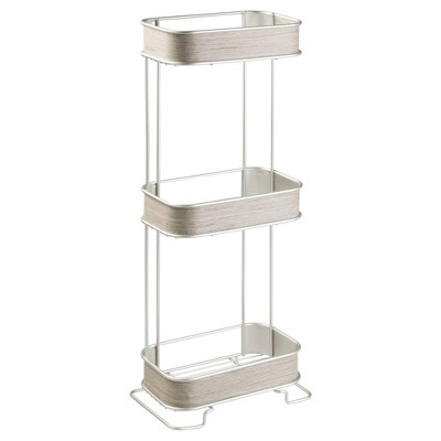 RealWood Free Standing Bathroom Storage Shelves 3 Tiers Satin/Gray Wood Finish - InterDesign
