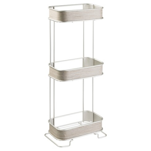 RealWood Free Standing Bathroom Storage Shelves 3 Tiers Satin/Gray Wood Finish - InterDesign - image 1 of 5