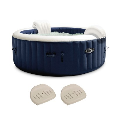 Intex 28431E PureSpa Plus 85in x 25in Portable Inflatable 6 Person Round Hot Tub Spa with 170 Bubble Jets, Heater Pump, and 2 Non-Slip Seats, Navy