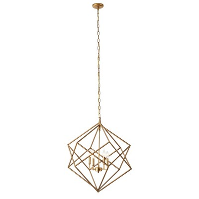 """28"""" x 30"""" Large Textured Metal Geometric Pendant Light with Candelabra Bulbs Gold - Olivia & May"""