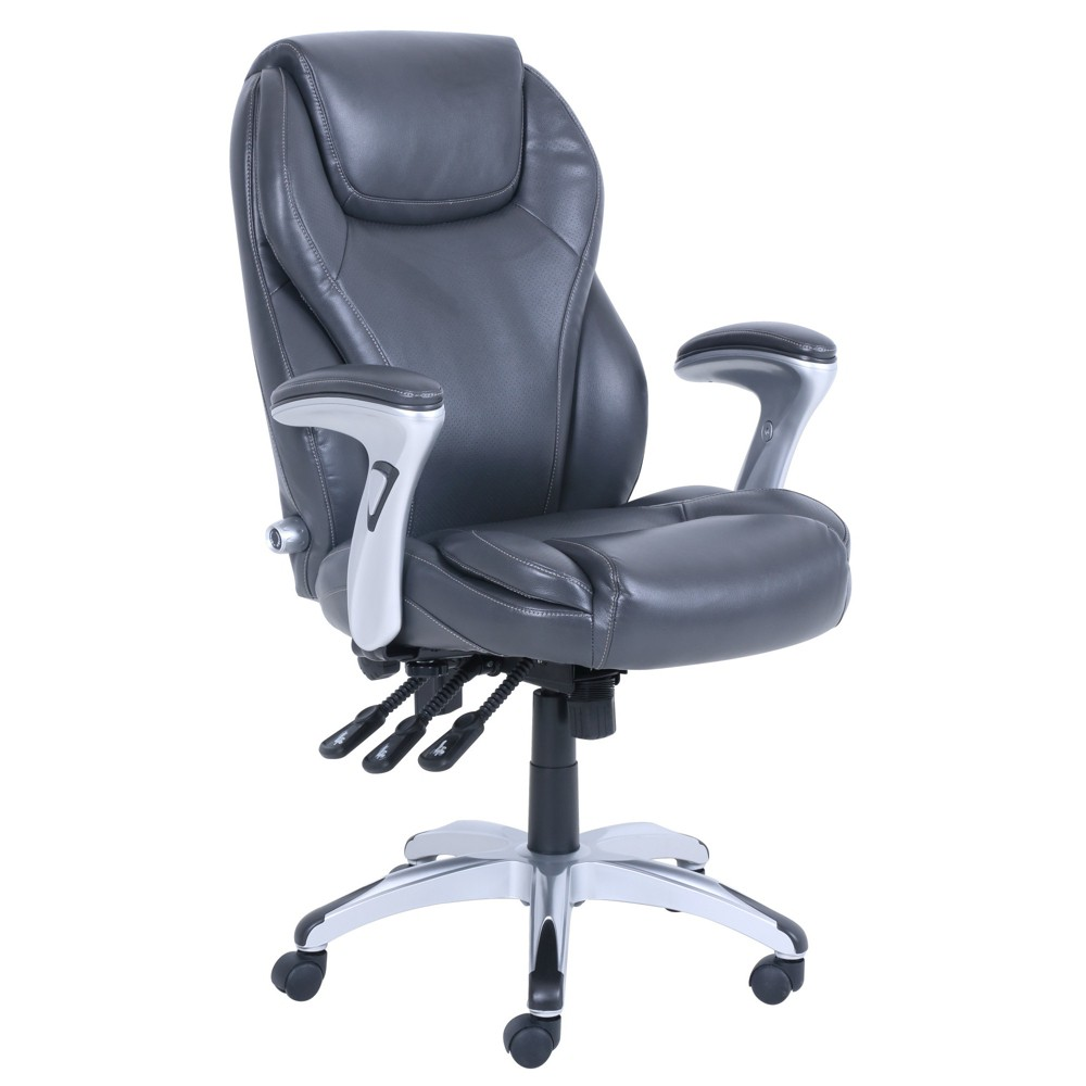 Executive Bonded Leather Adjustable Office Chair Innovate Gray - Serta