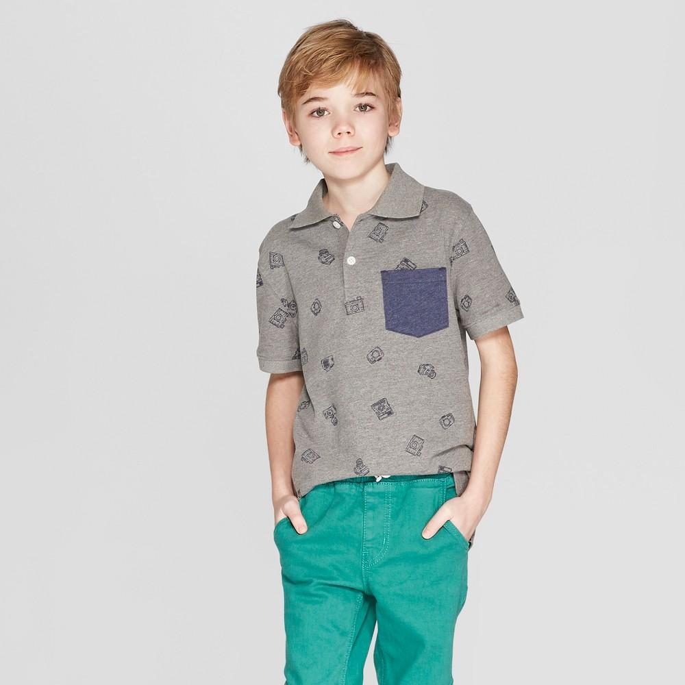 Boys' Short Sleeve All Over Print Slub Knit Polo Shirt - Cat & Jack Gray XL, Black