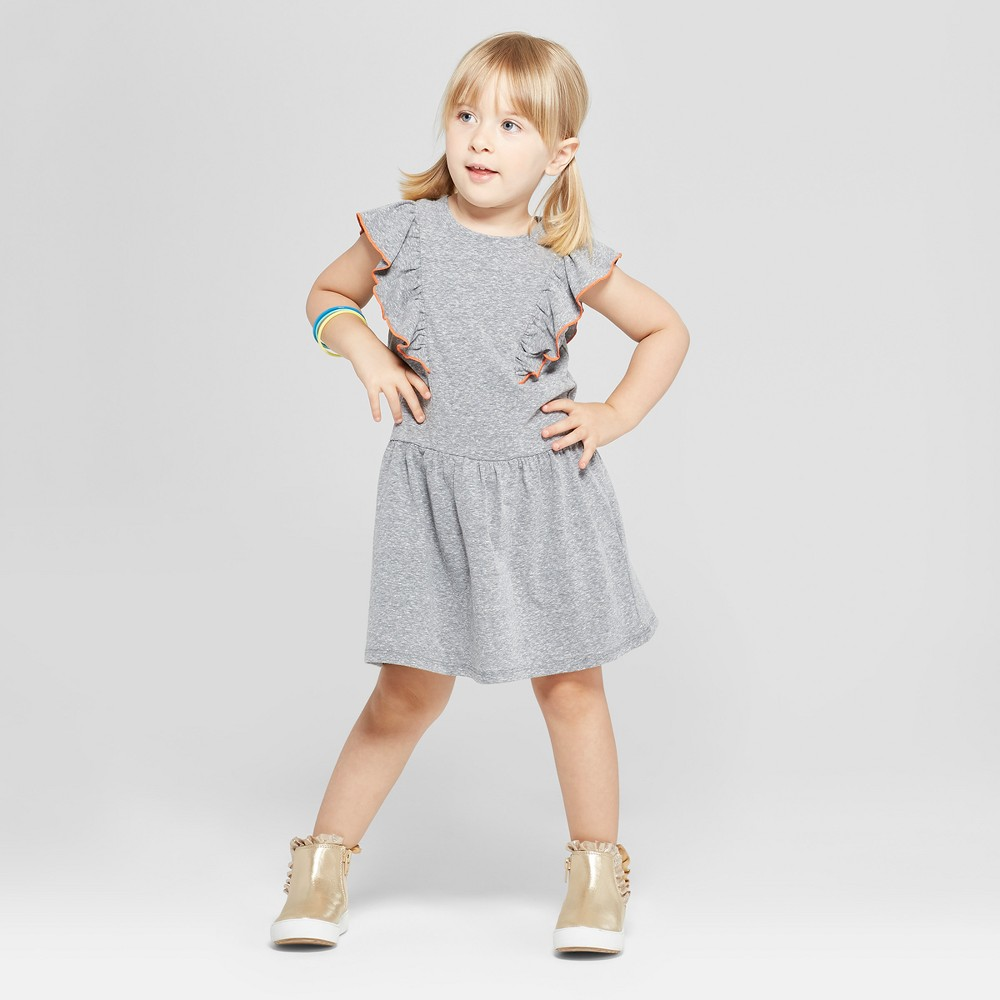 Toddler Girls' A-Line Dress - Cat & Jack Charcoal 12M, Girl's, Size: 12 Months, Gray was $9.99 now $4.49 (55.0% off)