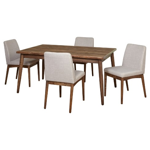 5 Piece Element Mid Century Dining Set - Walnut - Target Marketing Systems