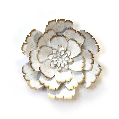 "19.29"" Metal Flower White - Stratton Home Décor"