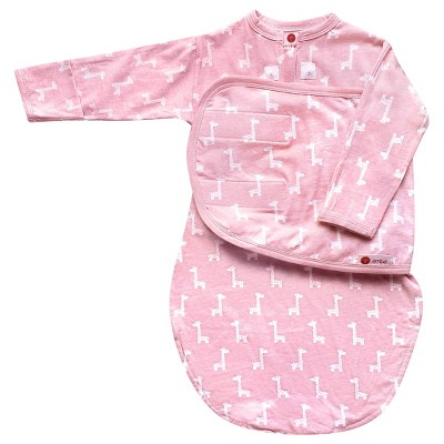 embé Starter Long Sleeve Swaddle with Fold Over Mitts - Pink Giraffe