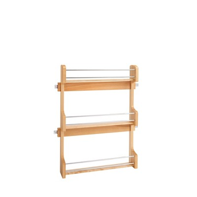 Rev-A-Shelf 4SR-21 21-Inch Kitchen Cabinet Door Mounted Wooden 3-Shelf Storage Spice Rack with Mounting Hardware, Natural Maple