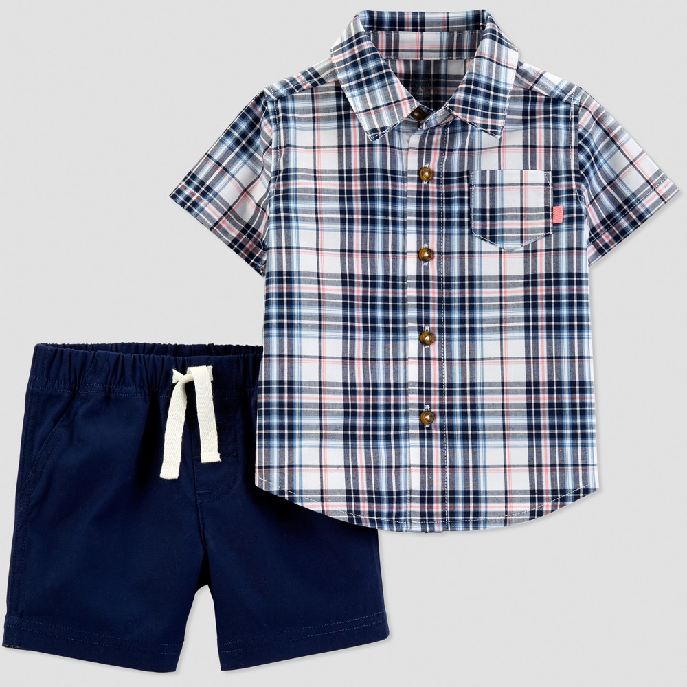 Baby Boys' 2pc Plaid Shorts Set - Just One You made by carter's Navy Blue 12M