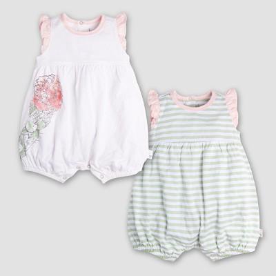 Burt's Bees Baby Girls' Organic Cotton 2pk Watercolor Bloom Shortalls - Cloud 0-3M