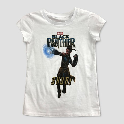 dcc6b9cfde Girls  Black Panther Short Sleeve T-Shirt - White. Shop all Marvel