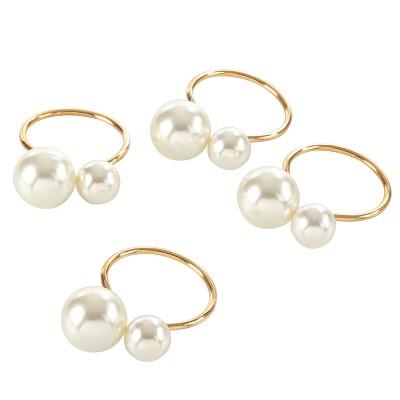 """4pk Gold Pearl Napkin Ring 1.5"""" - Saro Lifestyle"""
