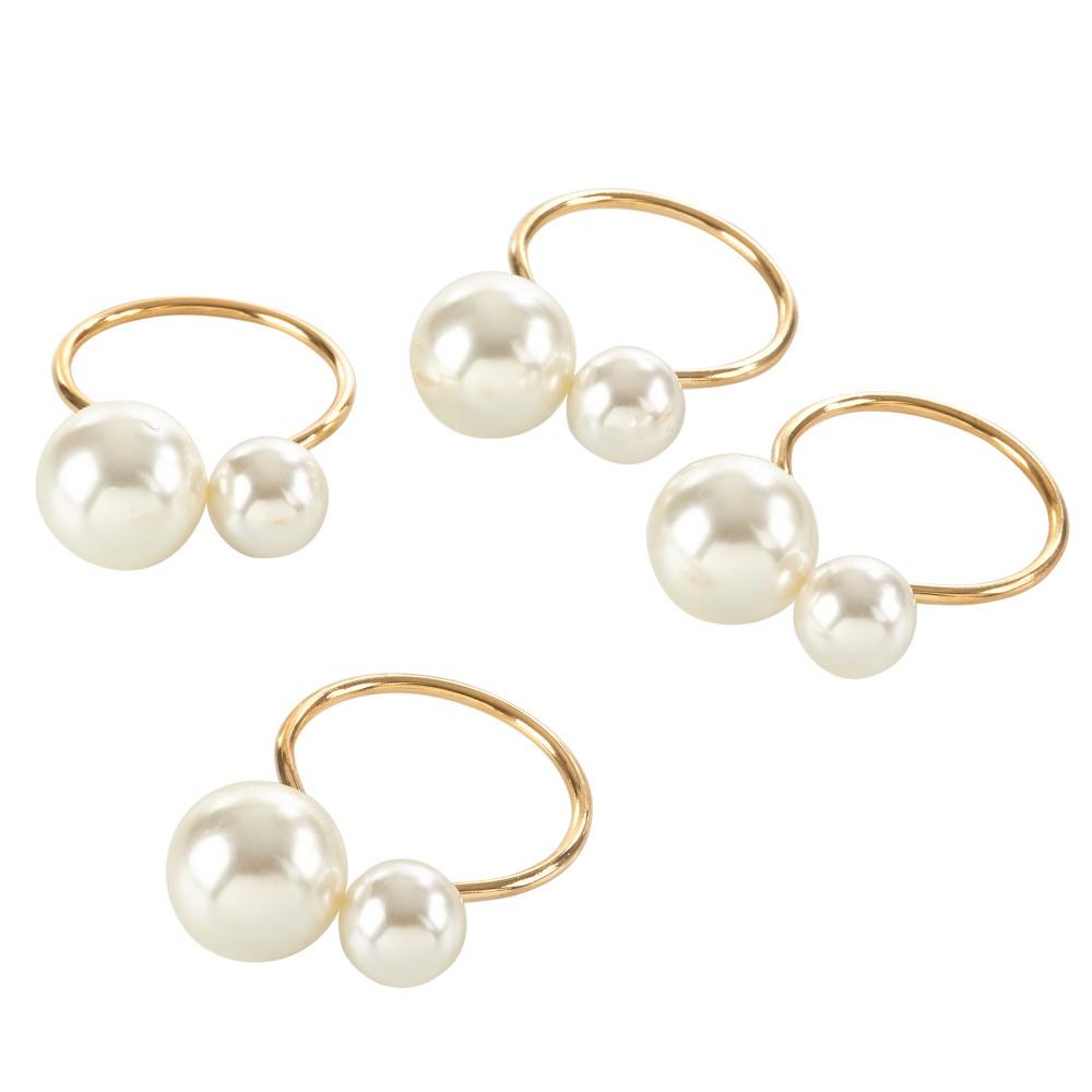 "Image of ""4pk Gold Pearl Napkin Ring 1.5"""" - Saro Lifestyle"""