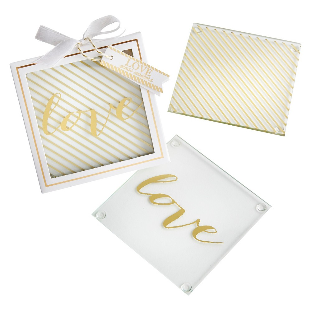 Image of 12ct Kate Aspen Gold Love Glass Coaster