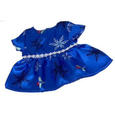 Doll Clothes Superstore Blue Satin Doll Dress With Snowflake Print Fits 15-16 Inch Baby dolls.