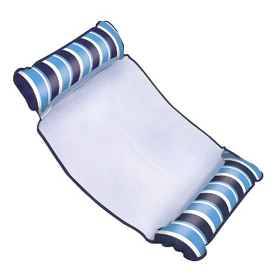Aqua Leisure 4 in 1 Inflatable Monterey Hammock Beach Pool Water Float Chair Lounger Drifter Saddle with 2 Pillows, Striped (Blue/White)
