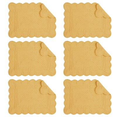 C&F Home Cornsilk Cotton Quilted Rectangular Reversible Placemat Set of 6