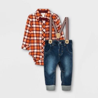 Baby Boys' Plaid Denim Suspender Top & Bottom Set with Bowtie - Cat & Jack™ Maroon 3-6M