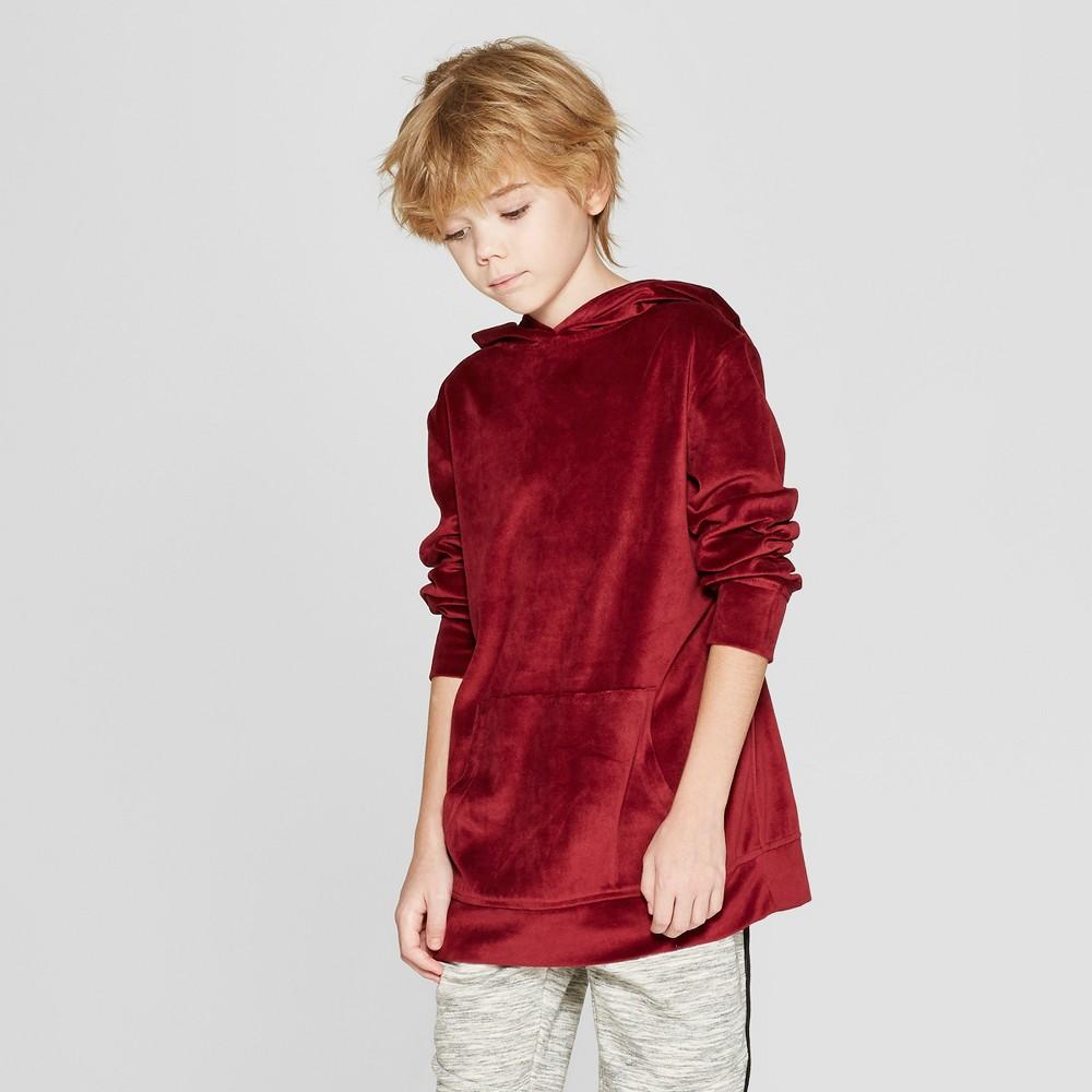Boys' Velour Hooded Sweatshirt - art class Red S