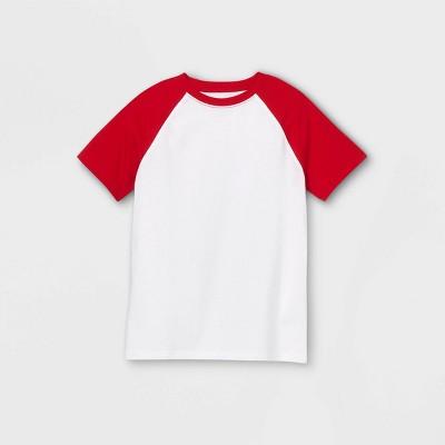 Boys' Baseball Short Sleeve T-Shirt - Cat & Jack™ Red/White