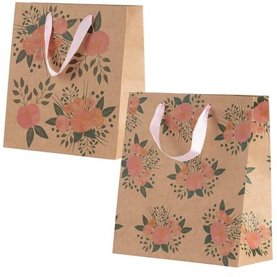 Juvale 24-Pack Kraft Treat Goodie Bags Floral Gift Bag for Bridal Shower Wedding Party