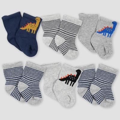 Gerber Baby Boys' 6pk Dino Jersey Wiggle Proof Socks - Purple 0-6M