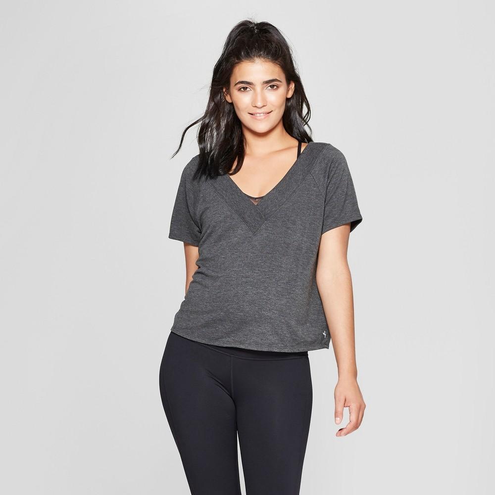 Women's Ribbed V - Neck T - Shirt - JoyLab Gray Heather L
