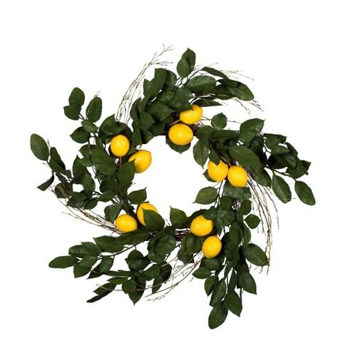 "Artificial Salal Leaf/Lemon Wreath (24"") Yellow - Vickerman - image 1 of 4"