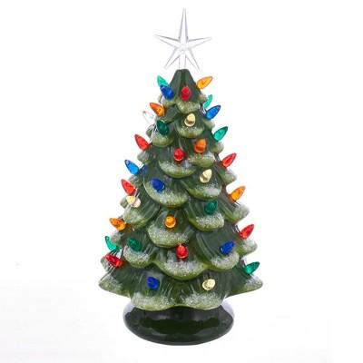"Kurt Adler 12.8"" Battery-Operated LED Ceramic Pink Christmas Tree Tabletop Decor"