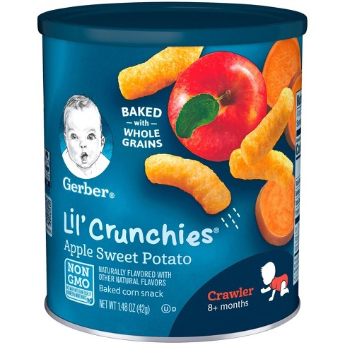 Gerber Lil' Crunchies Baked Whole Grain Corn Snack Apple and Sweet Potato - 1.48oz - image 1 of 4