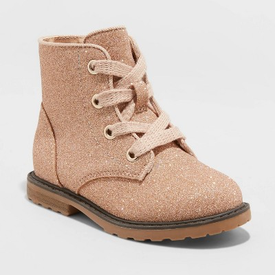 Toddler Girls' Giovanna Lace-Up Combat Boots - Cat & Jack™ Gold Shimmer 6