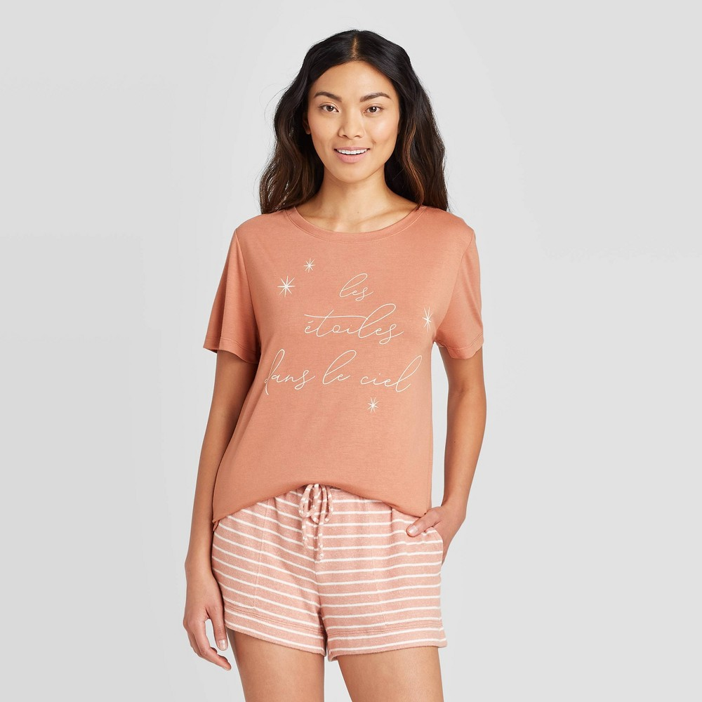 "Image of ""Women's """"Stars In The Sky"""" Sleep T-Shirt - Stars Above Rust L, Women's, Size: Large, Orange"""